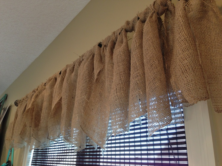 Burlap curtains in my dining room...my favorite, inexpensive project!!