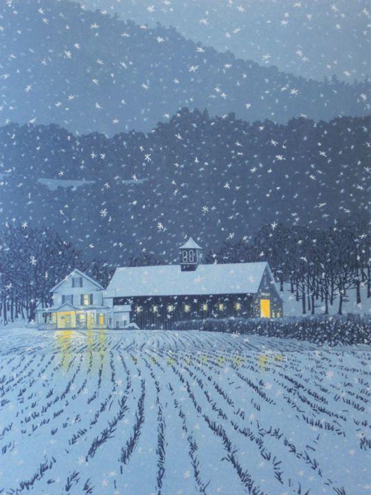 First Snow, linoleum block print by William Hays