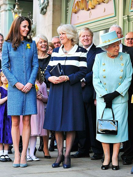 Catherine - Duchess of Cambridge, Camilla, Duchess of Cornwall, and Queen Elizabeth II, attending a Royal Tea.
