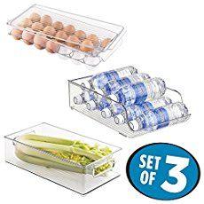 mDesign Refrigerator Storage Organizer Bin, Covered Egg Holder, Water Bottle Holder for Kitchen - Set of 3, Clear