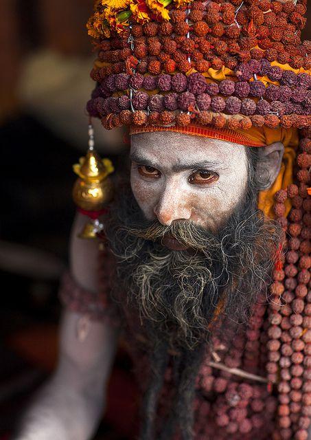 Sadhu With Rudraksha Mala, Maha Kumbh Mela, Allahabad, India - by Eric Lafforgue