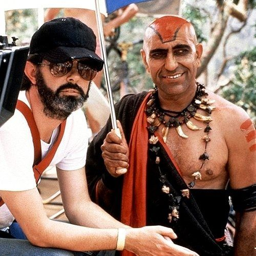 Producer George Lucas & Amrish Puri (Mola Ram) - Indiana Jones and the Temple of Doom (1984)