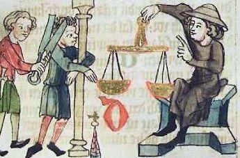 Bestrafung eines Gewichtsbetrügers; Abbildung aus dem Sachsenspiegel