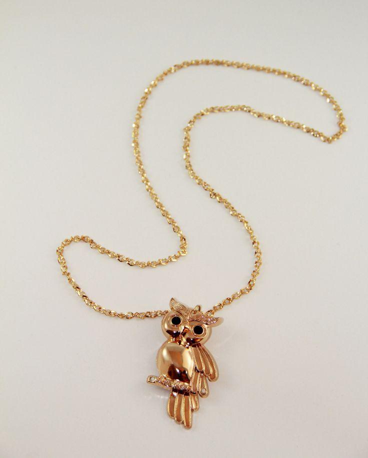 Gold Baykuş kolye 42 cm uzunlugunda. www.suanyemoda.com