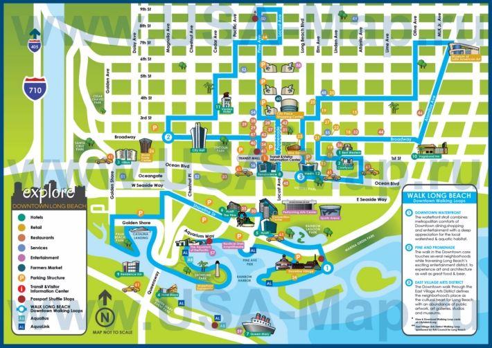 Туристическая карта Лонг-Бич с отелями и ресторанами