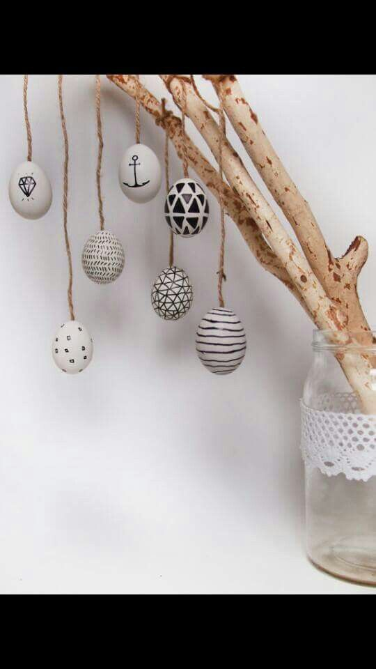 Cute handcrafted Easter decoration. DIY idea to create a cosy handmade home decor.