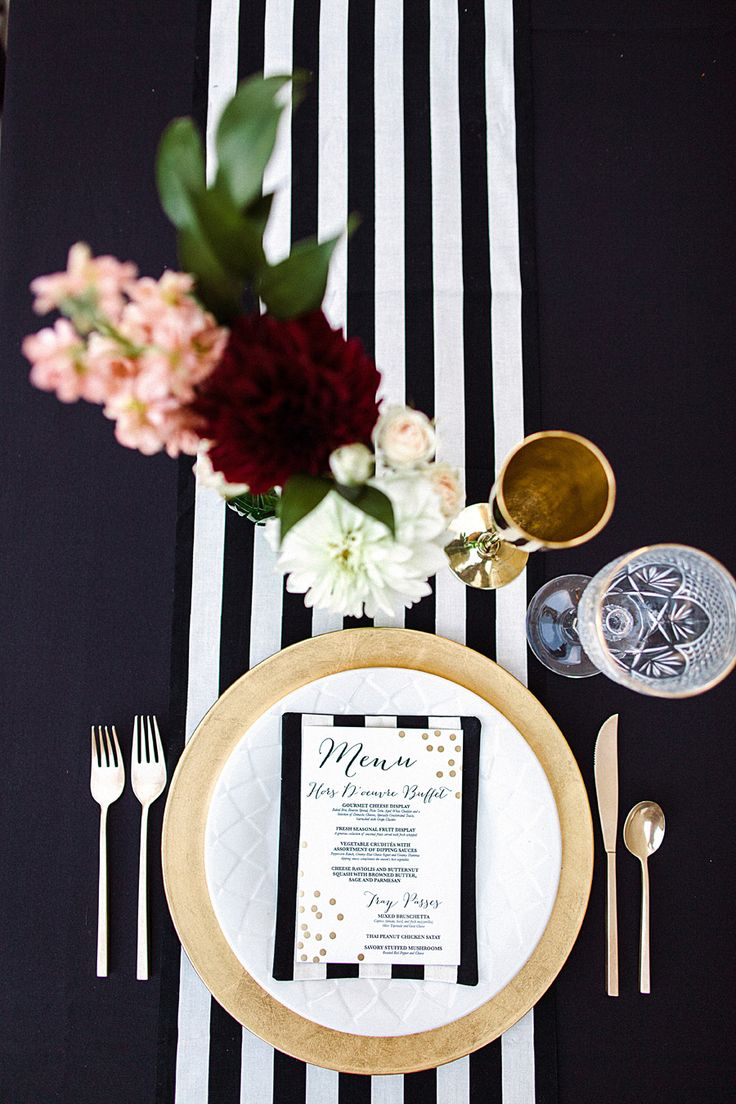 Black & White table runner with gold accents