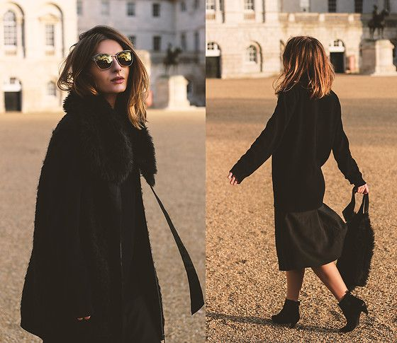 Get this look: http://lb.nu/look/8598979  More looks by Denisia A.: http://lb.nu/denisia  Items in this look:  Cos Midi Skirt, Calvin Klein Suede Boots, Cos Wool Coat   #casual #minimal #street #black #navy #wool #fauxfur #sunnies #sunglasses