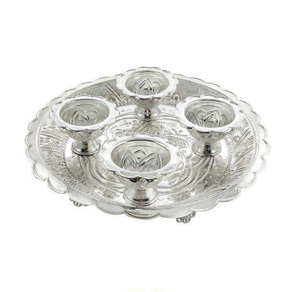 Jpearls Pure Silver Pooja Thali with Haldi Kumkum Dabi | Pure Silver Plate