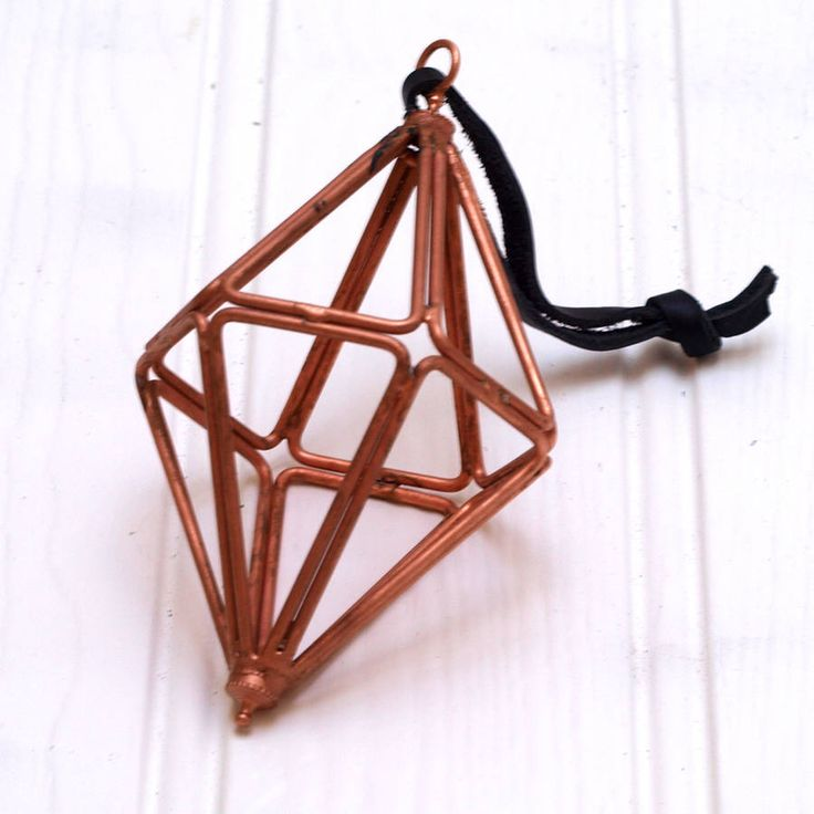 Hanging diamond decoration made from copper. From notonthehighstreet.com