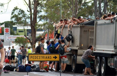 "Evacuations in Bundaberg. This street is not far from where I used to live. I heard someone say ""We look like refugees!"" when I first saw this photo. I had reply, ""Well, that's because we are...""  Refugees do not only come from oversees, nor do they have to be escaping wartorn countries... Refugees are simply people in need of a refuge."