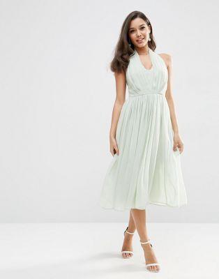 ASOS WEDDING Halter Midi Dress