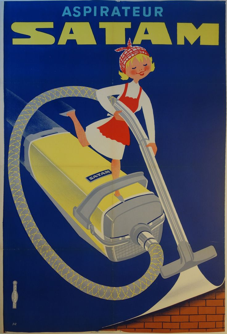 "Title: Aspirateur Satam / AR France - c. 1950 - / imp. De La Vasselais, Paris /  32 x 47 in (81 x 119 cm) / ""House cleaning never looked so fun using the very powerful and easy-to-use Satam vacuum cleaner!"""