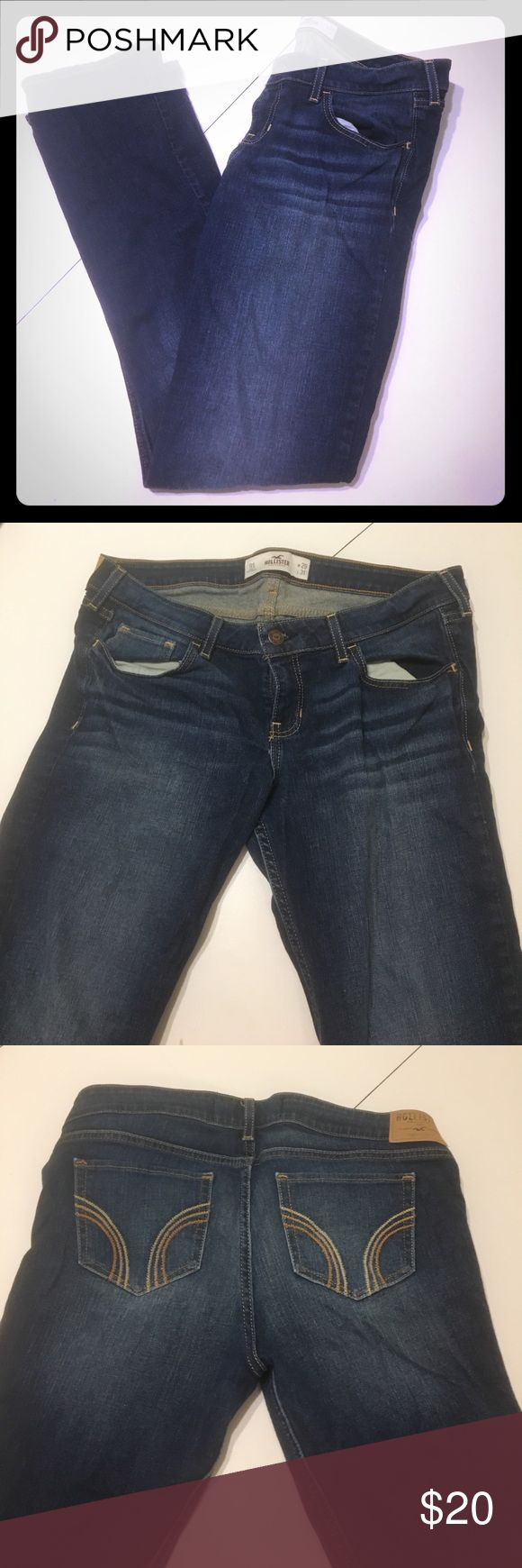 Boot cut dark wash jeans Hollister boot cut jeans. They are tighter in the thigh area for a trimming fitted look but flare out at the bottom perfect for boot wearing. A dark blue wash. No distressing. Quality is like new. Hollister Jeans Boot Cut