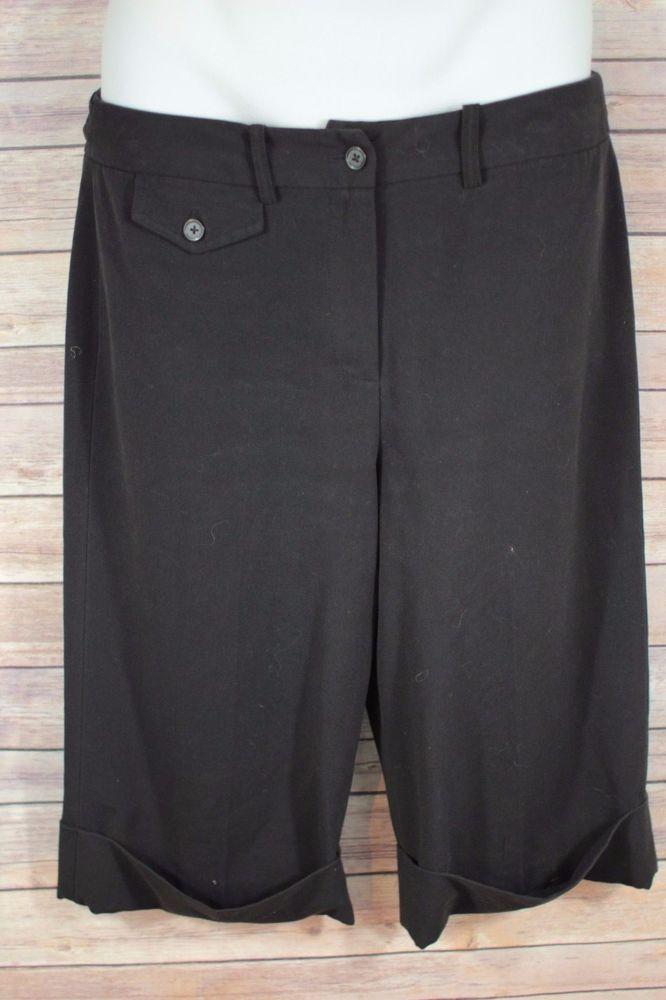 Larry Levine Women's Capri Pants Size 10 Black Cuffed Flat Front Cropped Slacks #LarryLevine #CaprisCropped