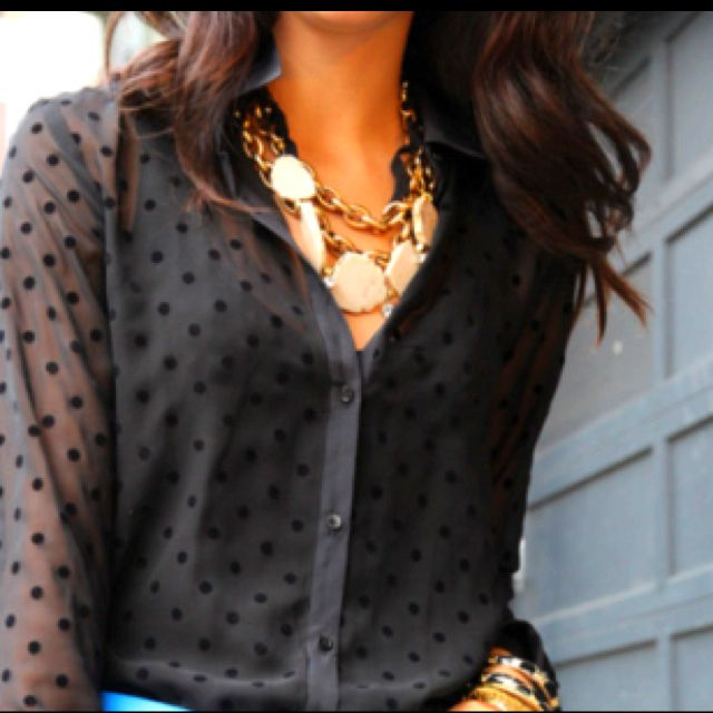 : Blouses, Polka Dots, Statement Necklaces, Polkadot, Street Style, Black Gold, The Dots, Gold Jewelry, Chunky Necklaces