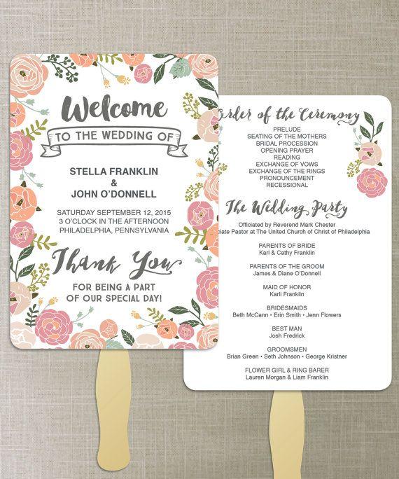 Wedding Program DIY - Editable Wedding Program. Vintage Rose Design Wedding. CreativeUnionDesign