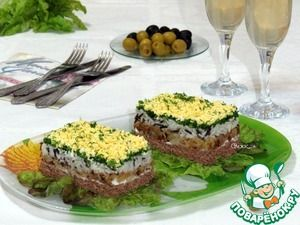 Салат с рисом и куриной печенью