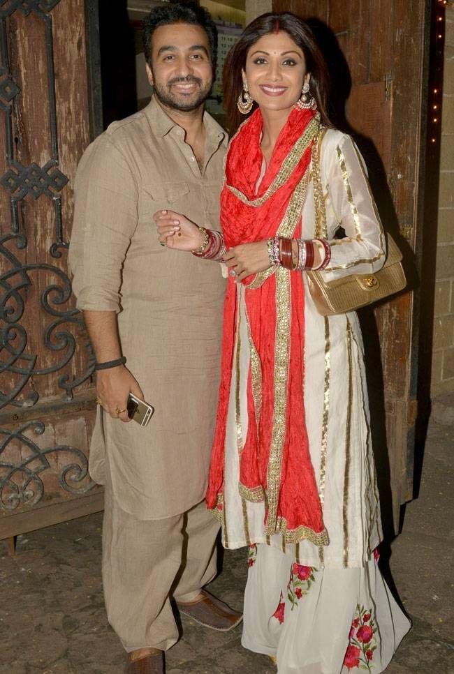 Shilpa Shetty and Raj Kundra at #KarvaChauth celebrations at Anil Kapoor's residence. #Bollywood #Fashion #Style #Beauty #Hot #Desi