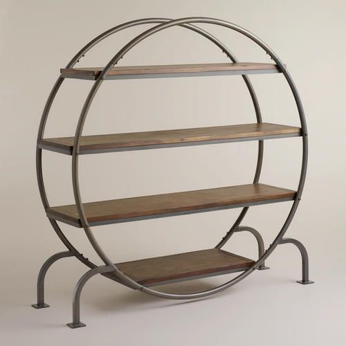 Our ultra-stylish Round Bookcase is brimming with industrial sophistication thanks to its metal frame and intriguing contoured shape. Against the wall, its open design keeps visual space open and uncluttered. Amply sized, it could even double as a unique room divider.