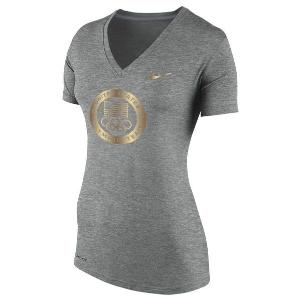 Team USA Nike Women's Gold Performance V-Neck T-Shirt - Heathered Gray - $34.99