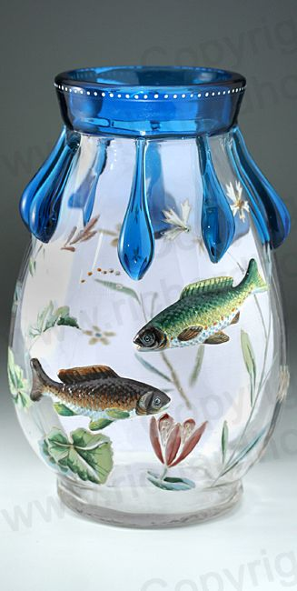 ANTIQUE FINE c.1900 HARRACH GLASS VASE WITH BLUE TRAILS & APPLIED FISH. Price: £525.00