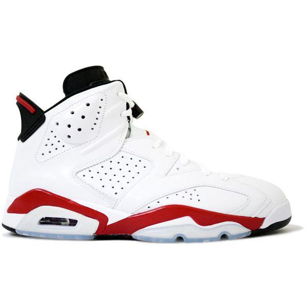 Air Jordan 6 (VI) Retro White Varsity Red Black ? liked on Polyvore featuring shoes, sneakers, jordans, retro style shoes, black sneakers, red sneakers, ...
