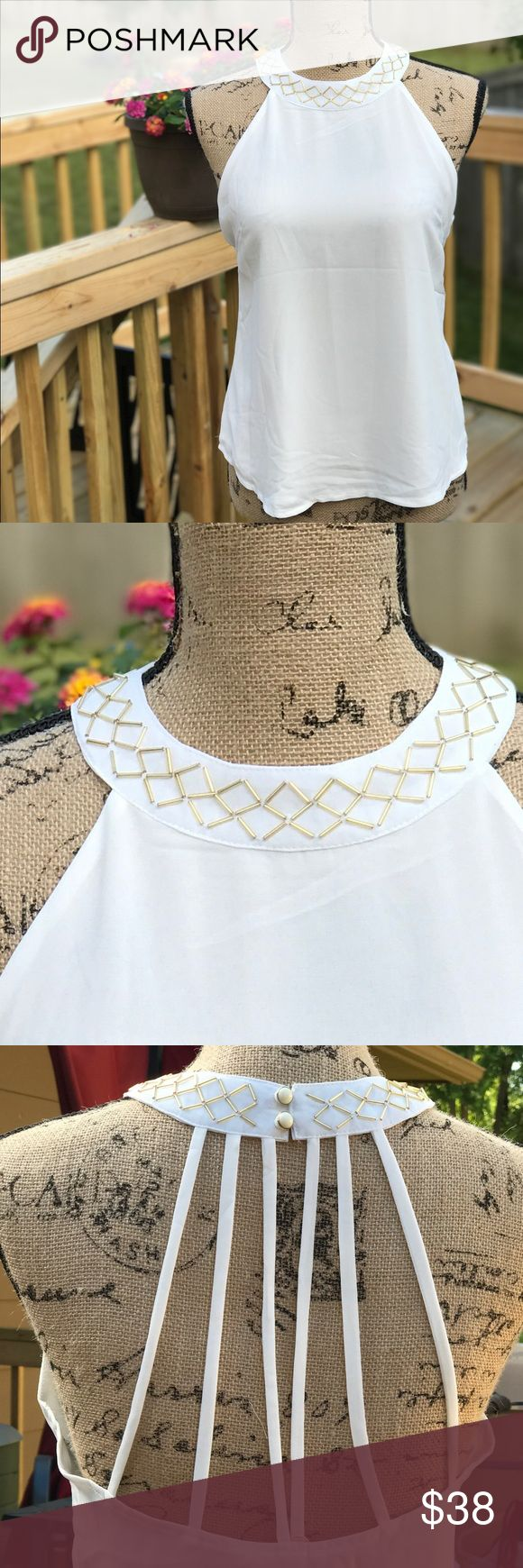 Sleeveless top Gold beaded, neck detail and strapped back. a shappe Tops Camisoles