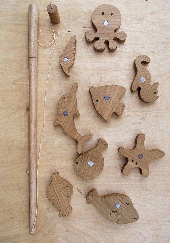 Canne à pêche magnétique jouet en bois jouets par EcoWoodyGoody