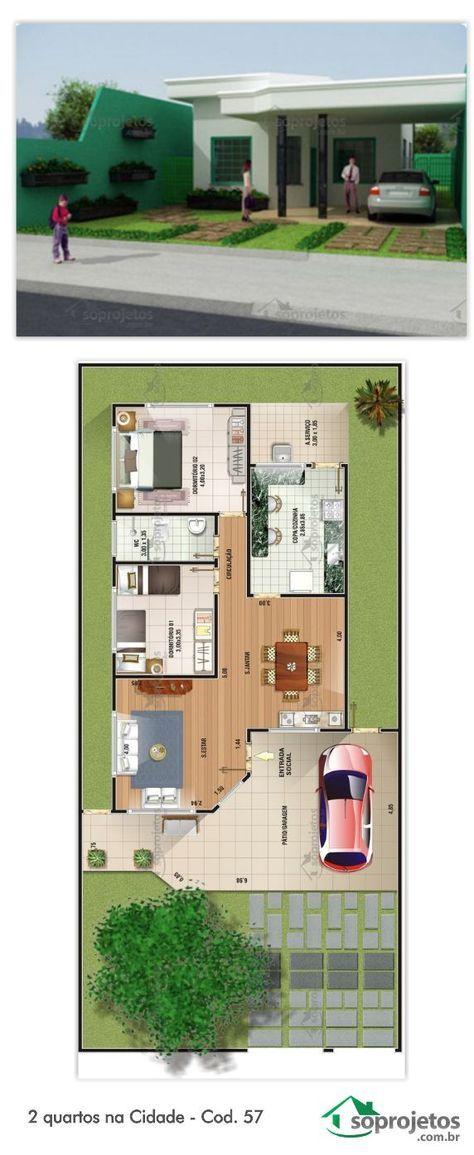 Projeto de casa com 2 dormitórios e 1 banheiro Com cozinha, sala de estar e jantar conjugados. Pátio/Garagem ampla para 1 carro, com área de 34,12 m²