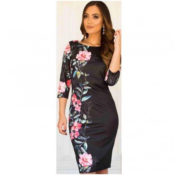 Lucinda Elegant 3/4 Sleeve Dress