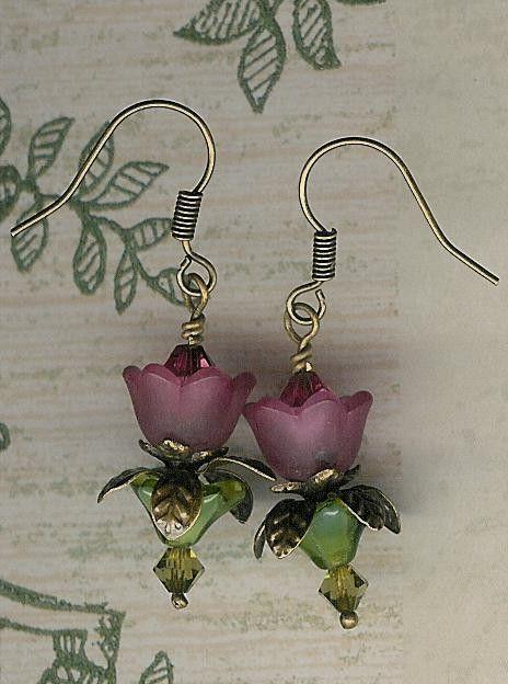 Bead Kit Plum Rose Lovely Lucite Flower Earrings by JuliesBeadKits, $2.95