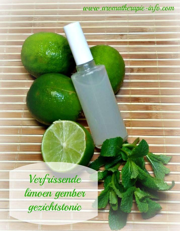 Deze verfrissende limoen gember gezichtstonic maak je zelf met verse producten uit je koelkast. Limoen, gember en pepermunt.