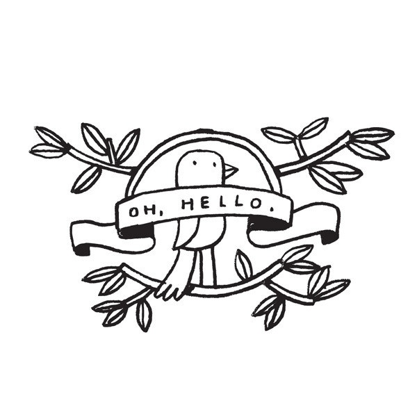 A handsome little bird saying Hello? Mike Lowery's Oh, Hello is a simple, elegant Tattly with a hand-crafted feel, perfect for breaking the ice.
