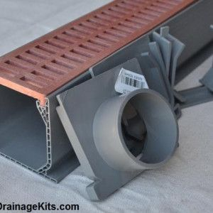 NDS Mini Channel trench drain kit w/slotted brick red grate
