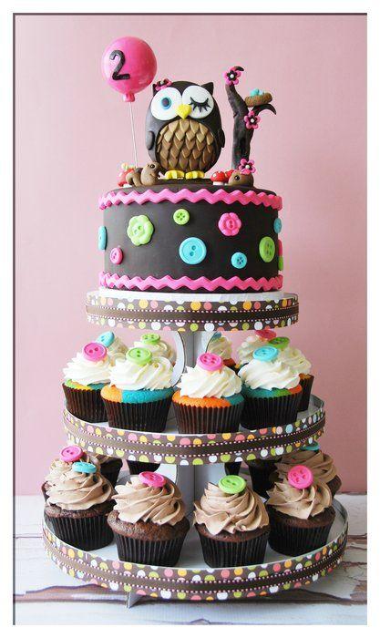 #Birthday #cake idea ;-) #owl #buttons: Cakes Ideas, Cupcake Cak, Owl Theme, Girls Birthday, Owl Cakes, Owl Cupcake, Cupcake Towers, Owl Birthday Cakes, Baby Shower