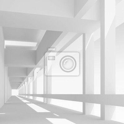Empty white corridor perspective, 3d illustration na obrazach myloview. Najlepszej jakości fototapety, kolekcje myloview, naklejki, obrazy, plakaty. Chcesz ozdobić swój dom? Tylko z myloview!