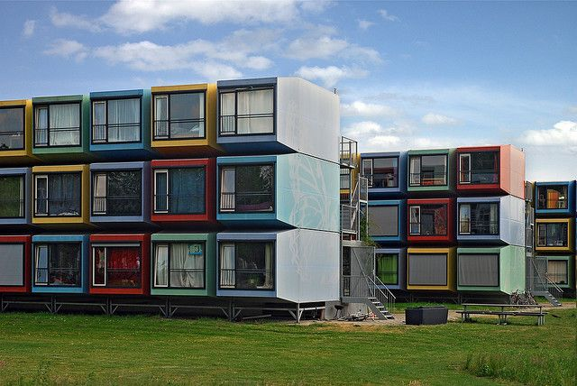 Container housing for students at De Uithof, Universiteit Utrecht campus