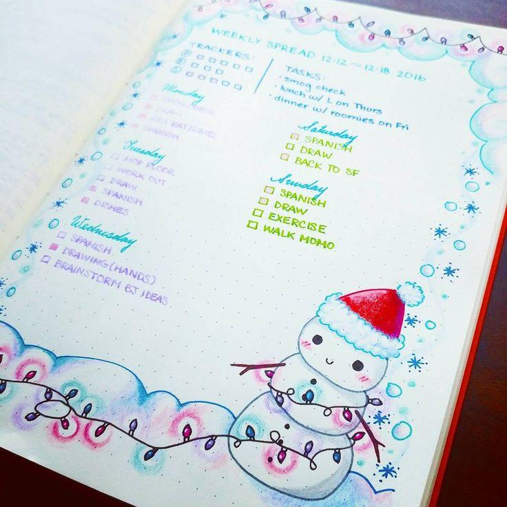 Winter break has started :) #christmas #winter #bulletjournalcommunity #bulletjournaljunkies #bujolove #bujojunkies #bujoinspire #showmeyourplanner #organization #plannerinspo #leuchtturm1917 #doodle #planneraddict #planneraddict #plannergirl #snowman #planninginspiration4u #bujo