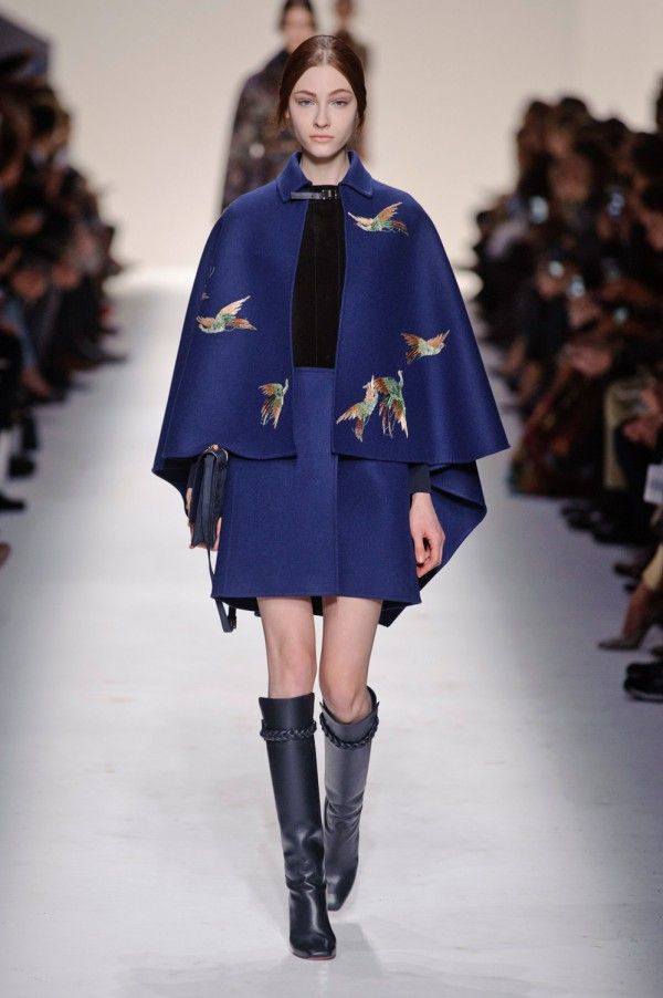 Valentino blue cape with birds