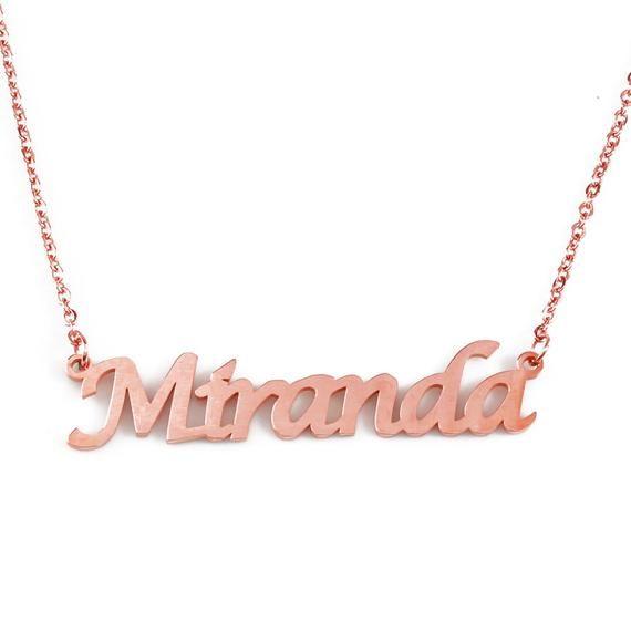 Miranda Rose Gold Personalized Name Necklace Free Gift Box Etsy In 2020 Name Necklace Gold Name Necklace Personalized Gold Necklace