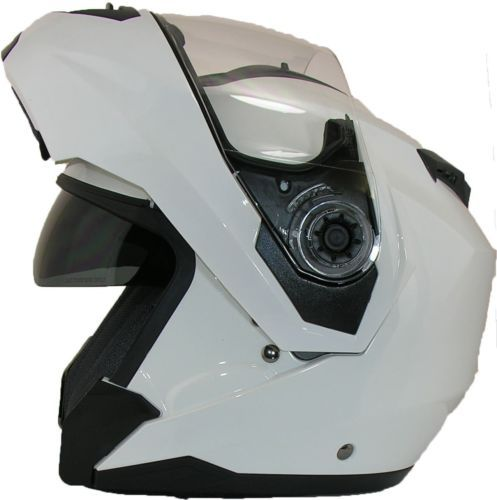 FLIP-UP-Front-MOTORCYCLE-Helmet-Modular-DOUBLE-Visor-Motorbike-Closed-Face-WHITE  £39.95
