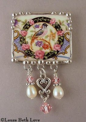 "** ""Square Bird & Beads"" Recycled Vintage China Dishes Made Into Jewelry @dishfunctionaldesigns"