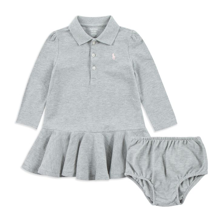 RALPH LAUREN Baby Girls Polo Dress - Grey Baby long sleeve dress • Soft cotton pique • Three button placket • Polo collar design • Peplum hemline • Pony logo embroidery • Comes with matching bloomers • Material: 100% Cotton • Code: REDESIGN/I