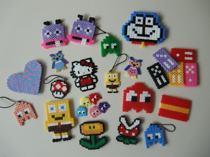 Imanes y llaveros hechos con hama beads...