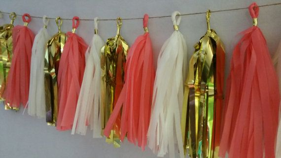 Coral White Gold Tissue Paper Tassel Garland Party by SnootyBlooms