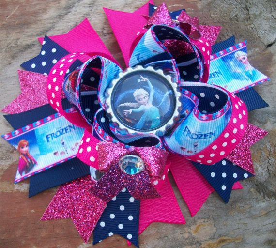 """Disney Frozen """"Elsa"""" Inspired 5 Inch Boutique Stacked Bow / Birthday Bow on Etsy, $6.99"""
