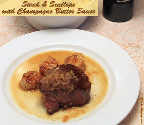Steak and Scallops with Champagne Butter | 2CookinMamas