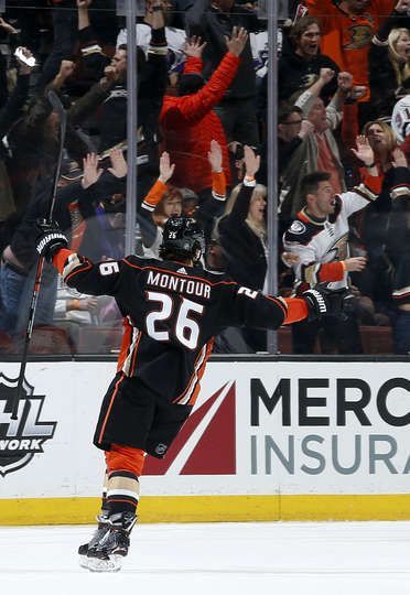 Brandon Montour  26 of the Anaheim Ducks celebrates a game-winning overtime  goal against the Los Angeles Kings on March 30 6759d64ba