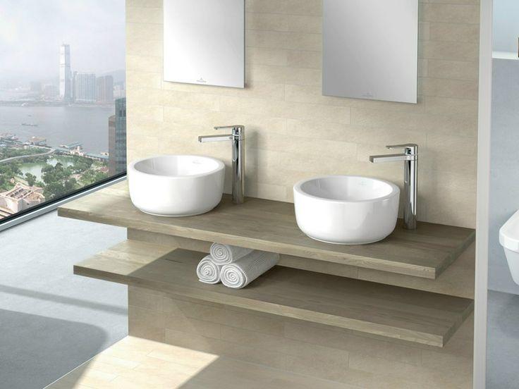 Countertop round ceramic washbasin architectura collection - Villeroy boch salle de bain ...